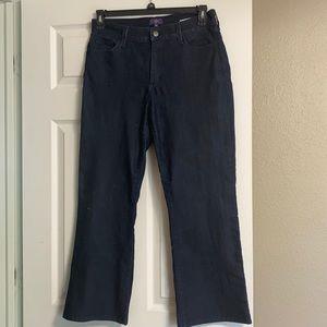 NYDJ, Dark blue denim boot cut jeans. 12 P